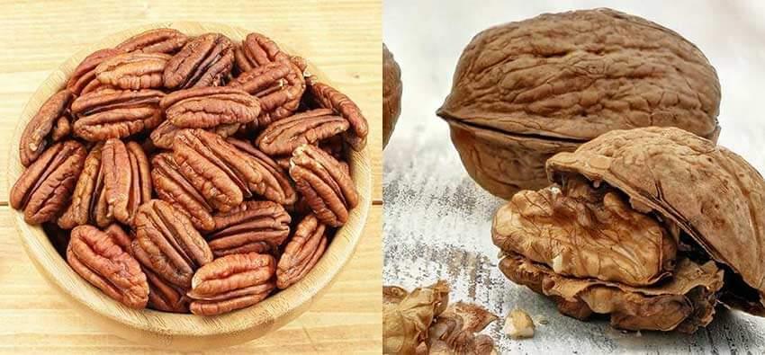 מה ההבדל בין אגוזי מלך לבין פקאן ? (יש תמונות)